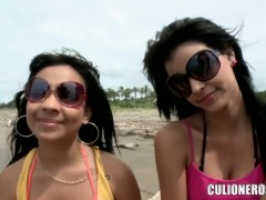 Amateur latinas Daniela and Luchy tease outdoor