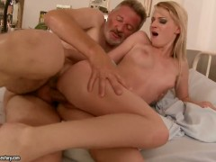 Blonde Candy Lover is in heaven blowing guys hard meat pole