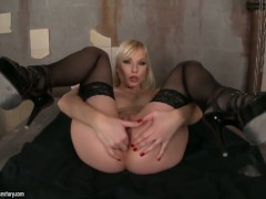 Blonde Lena Cova is on the way to the height of pleasure with vibrator in her love tunnel