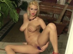 Carina Shay gives a closeup view of her hole while masturbating with toy