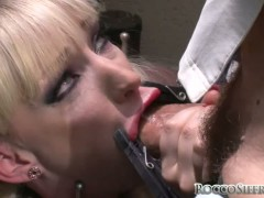 Fetish scenes with obedient blonde with cock in mouth