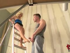 Gorgeous blonde Jessie Volt gives a hot footjob session