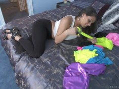 Petite latina Charley Chase teases in bedroom